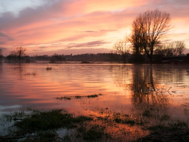 Sunset Over Flooded Fields