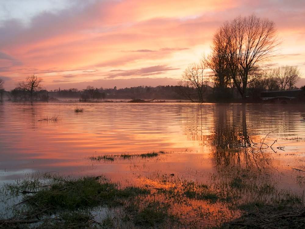 """Sunset Over Flooded Fields"", West Midlands, England"