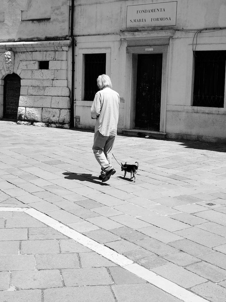 Old an Walking His Dog