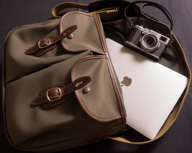 "Billinghham Hadley Large with Fujifilm X100F and 13"" MacBook Pro"