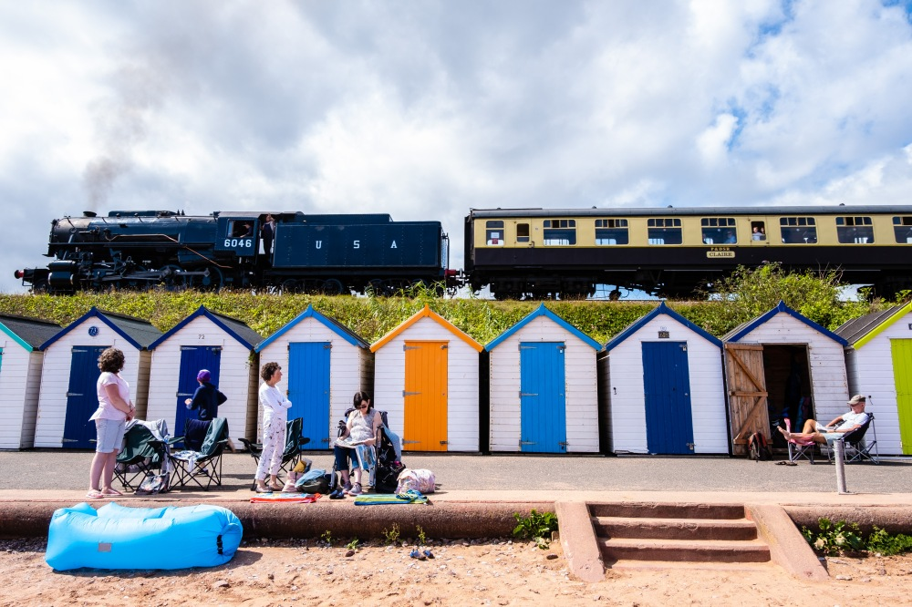 Train and Beach Huts, Paignton, Devon